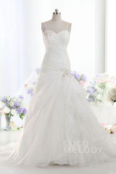 Luxurious+A-Line+Spaghetti+Strap+Dropped+Train+Organza+Ivory+Sleeveless+Lace+Up-Corset+Wedding+Dress+LD1738