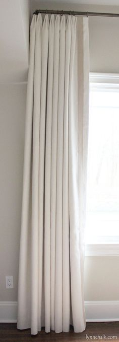 Custom Euro Pleated Drapes in Kravet Dublin Linen with Samuel & Sons Grosgrain Ribbon Trim (comes in over 70 colors) Drapes And Blinds, Drapes Curtains, Window Blinds, Room Window, Drapery Rods, Bedroom Curtains, Modern Curtains, Valance, Cotton Curtains