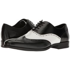 Stacy Adams Stockwell Wingtip Oxford (Black/White) Men's Lace Up Wing... ($90) ❤ liked on Polyvore featuring men's fashion, men's shoes, men's oxfords, mens wing tip shoes, mens lace up shoes, mens black and white oxford shoes, mens oxford shoes and stacy adams mens shoes