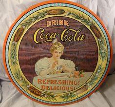 Drink Coca Cola Refreshing Delicious Round Tray 75th Anniversary Hilda Clark #CocaCola