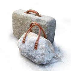 Luiz Philippe Stone & Mosaic Suitcases – Trendland Online Magazine Curating the Web since 2006 Stone Crafts, Rock Crafts, Land Art, Cristina Celestino, Art Pierre, Stone Mosaic, Stone Tiles, Outdoor Art, Pebble Art