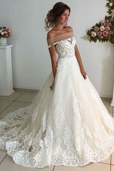 Affordable Lace Unique Off the Shoulder Online Charming Long Tulle Wedding Dress