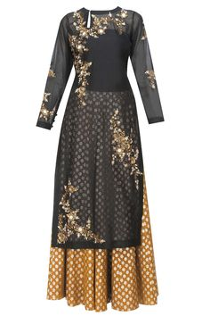 Joy Mitra presents Black floral embroidered kurta and gold brocade skirt with golden scarf available only at Pernia's Pop Up Shop.