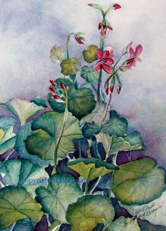 Cloudy Day Geranium -original watercolor painting of red geraniums with a cloudy sky in the background.