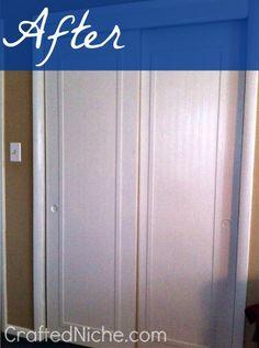 credit: Crafted Niche [ http://craftedniche.com/2012/08/23/sliding-closet-door-makeover/]