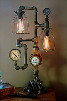 Steam Gauge Gear Plumbing Lamp Light Industrial Art Machine Age Steampunk