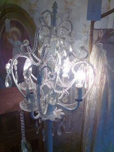 Pole chandelier, chandelier, shabby chic chandelier by MaggieBleus on Etsy
