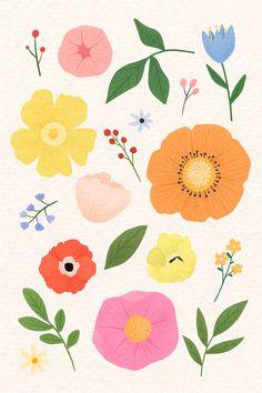 Colorful floral design set vector premium image by Aum Art Floral, Logo Floral, Floral Prints, Design Set, Design Logo, Vector Design, Colorful Flowers, Blue Flowers, Pretty Flowers