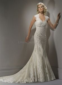 Vintage Ivory Lace Wedding Dress, Lace Wedding Dress With Keyhole Back $329.00