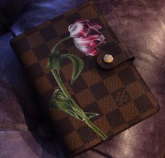 Louis Vuitton Damier Ebene Agenda, Hand painted Pink Flower