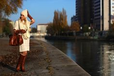 knitted dress, scarf & beanie - Orsay / gloves - Roeckl / bag - Prada / bracelet & necklace - Dyrberg Kern / sunglasses - Asos / boots - Deichmann Bag Prada, Beanie, Travel Style, Walking, Hipster, Asos Boots, Couple Photos, House Styles, Hipsters