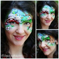 """""""Sleepy fantasy forest"""" dedicated to my baby girl who is 40 weeks and 4 days today and still doesn't want to come out to see the light. Super many details I know not a design for a gig for sure but that was my mood today. I had so much pleasure painting this thinking of my baby and relaxing. #facepainting #facepaint #facepainter #fairy #fairyart #fairyfacepaint #facepaintingfairy #fantasyart #bodyart #bodyartist #bodypaint #bodypainter #makeupforkids #fairymakeup #olgamurasev #аквагрим…"""