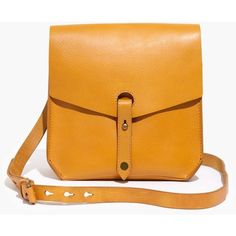 MADEWELL The Brisbane Crossbody Bag ($148) ❤ liked on Polyvore featuring bags, handbags, shoulder bags, boutique gold, yellow leather purse, leather handbags, leather cross body handbags, crossbody purse and genuine leather handbags