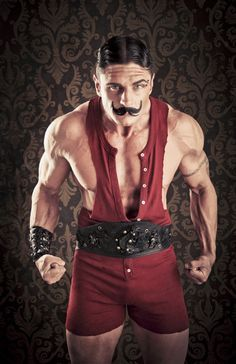 Circus Strong Man Costume, Strong Man Circus, Muscle Man Costume, Circus Costumes, Carnival Circus, Carnival Characters