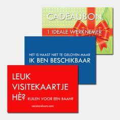 Leuke manier om je contactgegevens te presenteren: visitekaartjes en ansichtkaarten met ludieke teksten! Om