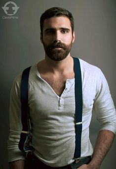 love it all the hair the beard the shirt the suspenders very sexy hot