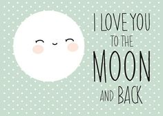 Poster Maan, Love you to the Moon and back in mintgroen.