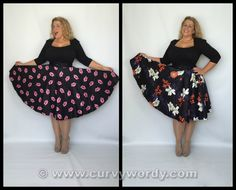 I review the Lady V London Lady Voluptuous Pink Lips on Black Full Circle Skirt 16 and Japanese Floral on Black Full Circle Skirt 18 http://www.curvywordy.com/2015/05/lady-v-london-lady-voluptuous-pink-lips.html