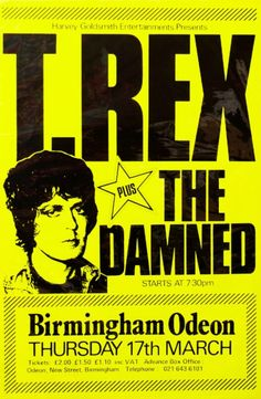 T. Rex/The Damned concert poster (March 1977)