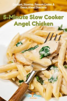 5-Ingredient, cheap and easy angel chicken in your crockpot! With crockpot, stovetop, pressure cooker, & freeze ahead directions! I hope this recipe helps you with your dinner preps and meal planning. Enjoy! | SlowCookerKitchen.com Slow Cooker Kitchen, Slow Cooker Pasta, Slow Cooker Recipes, Crockpot Recipes, Angel Chicken, Pasta Recipes, Chicken Recipes, Chicken Pasta, Freezer Meals