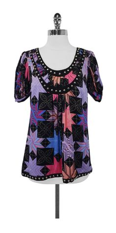 Tracy Reese Graphic Print Silk Top