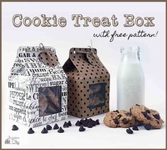 Cookie Treat Boxes DIY Cookie Treat Box with Tutorial Free Pattern Cookies Box, Cookie Gift Boxes, Cupcake Boxes, Cookie Gifts, Cute Cookies, Diy Cookie Packaging, Biscuits Packaging, Baking Packaging, Cake Packaging