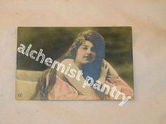 Vintage Lady with Flowers Photo POSTCARD  cir by AlchemistPantry, $7.00