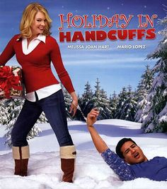 "Hallmark Christmas movies ""Holiday in Handcuffs"", If I remember correctly, Melissa forces Mario to be her date or fiancé to her parents' house for Christmas, and of course they fall in love by the end, silly but cute"