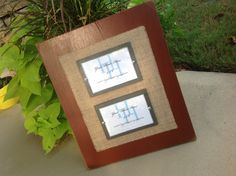 Brick red wood burlap frame for two 4x6 photos by HiggiHouse on etsy.com