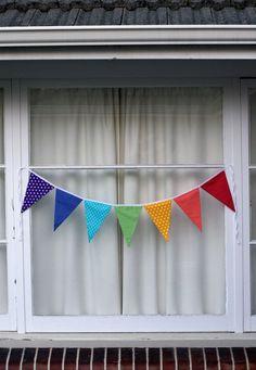 Rainbow Bunting Pennant Flags. $15.00, via Etsy.
