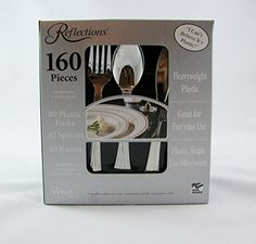 160 Pieces Reflections Heavyweight Plastic Silverware - Forks Spoons Knives Reflections / & Masterpiece Premium Quality Heavyweight Plastic Plates: 25 Dinner ...