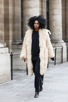 PFW street looks, captured by Sandra Semburg for Vogue.com #fur #hair #style - curated by @ethicalfashion1