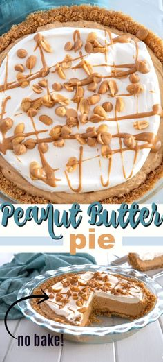 Peanut Butter Pie is a no-bake dessert that's perfect for potlucks. Peanut butte… Peanut Butter Pie is a no-bake dessert that's perfect for potlucks. Peanut butter, cream cheese, and powdered sugar come together in one glorious dessert. Peanut Butter Desserts, Köstliche Desserts, Delicious Desserts, Yummy Food, Tart Recipes, Best Dessert Recipes, Baking Recipes, Potluck Recipes, Dessert Party