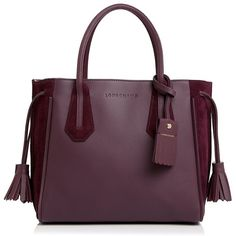 Longchamp Penelope Soft Small Leather and Suede Tote ($825) ❤ liked on Polyvore featuring bags, handbags, tote bags, longchamp tote, purple tote, leather tote purse, genuine leather tote and leather tote handbags