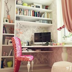 Feminine Patterned Wall Teen Bedroom with Space Saving Teen Study Desk and Bookshelf