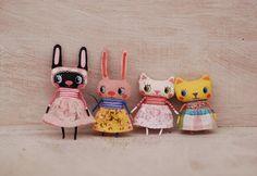 Fabric bunny  fabric kitty  bunny doll  kitty doll by mirianata