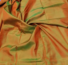 Green Mulberry Silk Fabric/Iridescent Orange, 100% pure silk fabric, plain silk fabric made with handloom, Fabric by the yard by TheSLVSilks on Etsy Dupioni Silk Fabric, Raw Silk Fabric, How To Dye Fabric, Cool Fabric, Silk Bedding, Mulberry Silk, Green And Orange, Pure Silk