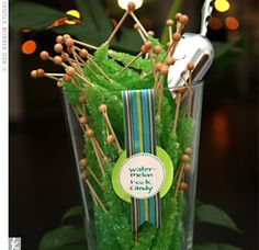 The candy bar, which doubled as a favor station, was filled with an assortment of the bride's favorite treats—all in green and blue—including miniature rock candy lollipops. Guests were given small bags to fill up and take home and enjoy.