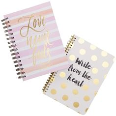 Tri-Coastal Design Assorted Smile/Love Spiral Notebooks - Set of 2 ($9.97) ❤ liked on Polyvore featuring home, home decor, stationery, filler and multi