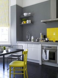 Modern contemporary kitchen design Gray and yellow combination