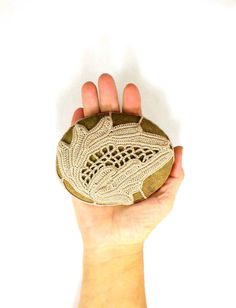 Irish Crochet Stone Paperweight Collectible Heirloom Lace  Natural Stone Decor Country Crochet Fiber Art Rustic Lace Coffee Cafe Brown
