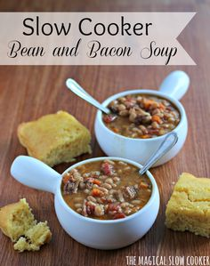 I don't know about you- but when the fall weather kicks in I am ready for soup! So I decided to make Slow Cooker Bean and Bacon soup this week.