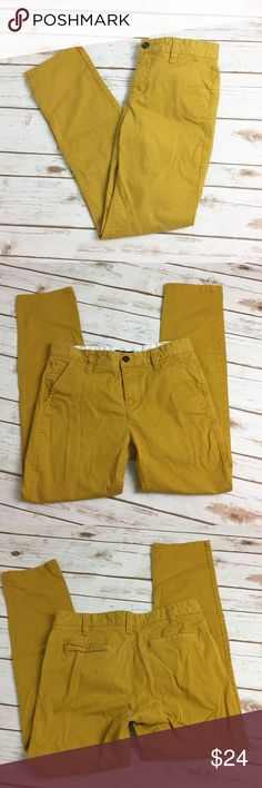 Urban Outfitters Hawkings McGill Gold Skinny Chino Urban Outfitters. Hawkings McGill. Size 30/30. Skinny Chino in Mustard Yellow. Cotton. Two front pockets, flat back pockets. Mid/High Rise. Button closure, Zip fly. See photographs for measurements. Excellent Preowned Condition, minor wash wear. Urban Outfitters Pants Chinos & Khakis