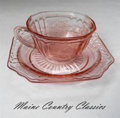 Vintage Pink Depression Glass Mayfair Cup Saucer Hocking Open Rose | eBay