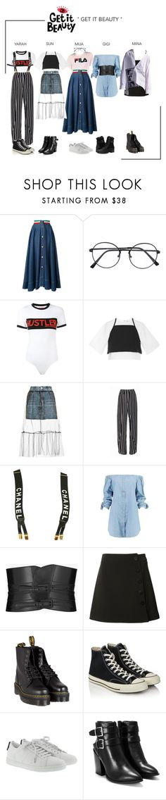 """""""ARIA (아리아) Get It Beauty"""" by ariaofficial ❤ liked on Polyvore featuring Moschino, Hood by Air, Rosie Assoulin, Topshop, Chanel, Boohoo, Yves Saint Laurent, Misha Nonoo, Dr. Martens and Converse"""