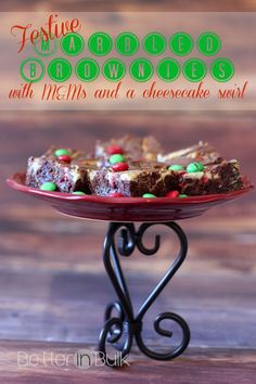 Marbled Brownies with M&Ms and a cheesecake swirl! #Christmas #Holidays #sponsored