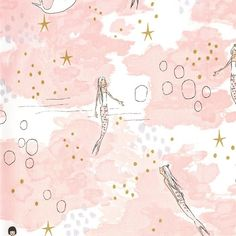 Magic Mermaid Magic Blossom METALLIC by Sarah Jane for Michael Miller - Pink -Quilting Cotton Fabric - by the yard fat quarter half by CuteLittleFabricShop on Etsy https://www.etsy.com/listing/452296432/magic-mermaid-magic-blossom-metallic-by