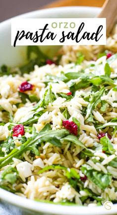 Orzo Pasta Salad Reicipe Easy orzo salad recipe made with pasta, feta, fresh basil, dried cranberries and toasted pine nuts. this summer pasta salad is easy to make and delicious to eat! The perfect side dish for grilling out. Orzo Pasta Recipes, Chicken Salad Recipes, Pasta Dishes, Recipe Pasta, Summer Pasta Salad, Summer Salad Recipes, Summer Salads, Fall Salad, Healthy Summer