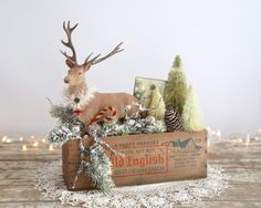 Vintage Style Christmas Decoration, Flocked Deer, Bottle Brush Tree, Large Vintage Cheese Box, Farmhouse Style, Green Boughs, Handmade by TheHeirloomShoppe on Etsy https://www.etsy.com/listing/251651175/vintage-style-christmas-decoration