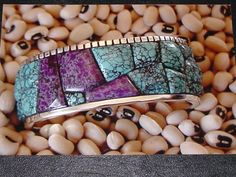 Cobblestoned Sugilite and Chinese turquoise silver cuff bracelet by Colorado Jewelrydude.